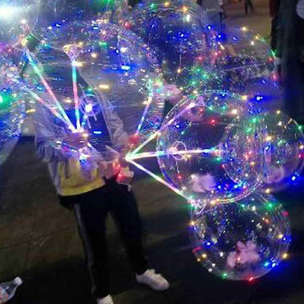 24 بوصة ترتد خارج شفافة بوبو الكرة الزخرفية الكرة مع الضوء لشريط داخلي Ktv الديكور