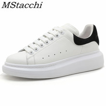 MStacchi New Spring Autumn Genuine Leather White Shoes Woman Flat Lace-Up Increa