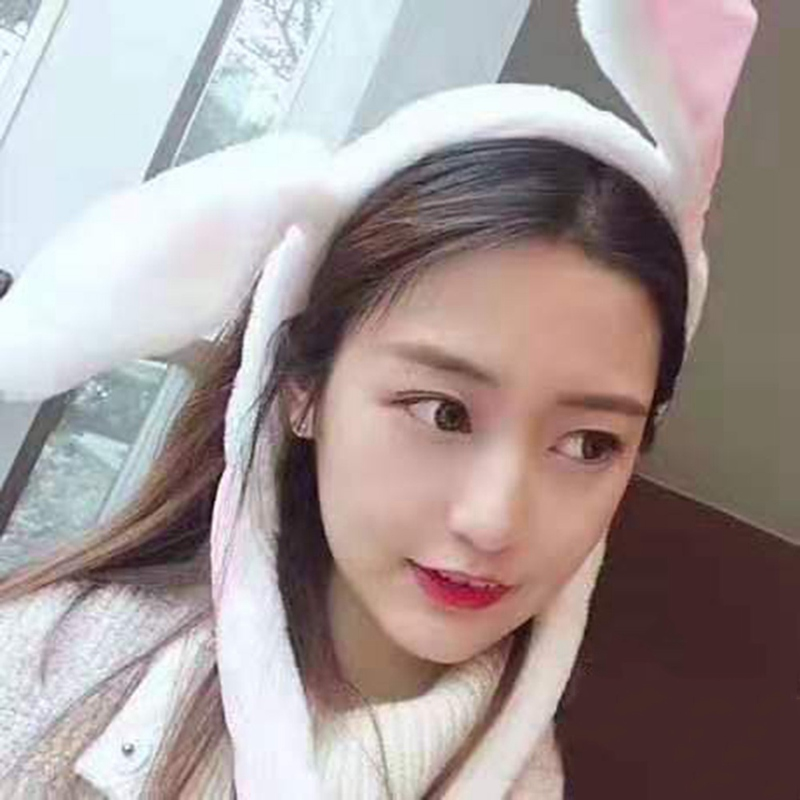 Rabbit Hat With Moving Ears Bunny Hat Ears Warm Plush Sweet Cute Airbag Cap