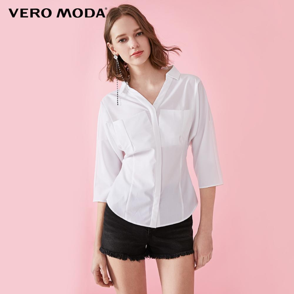 Vero Moda Women's Slim Fit Two-way 3/4 Sleeves Turn-down Collar Blouse Shirt   319231585