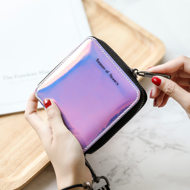 New Fashion Lanyard Laser Holographic Wallet Women Wallets Lady Short Long Purse Card Holder Women's Small Wallet Coin Purse
