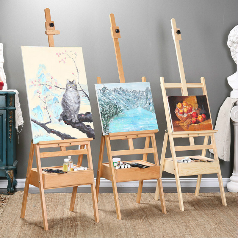 Solid Wood Easel Artist Oil Paint Caballete De Pintura Stand Caballete Large Watercolor Paint Stand Art Supplies For Artist