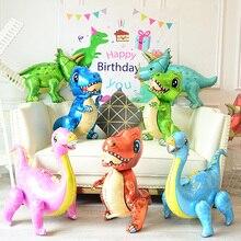 Large 4D Walking Dinosaur Foil Balloons Jungle Animal Boys Birthday Party Decors Jurassic  Standind Dragon Kids Toys Air Globos