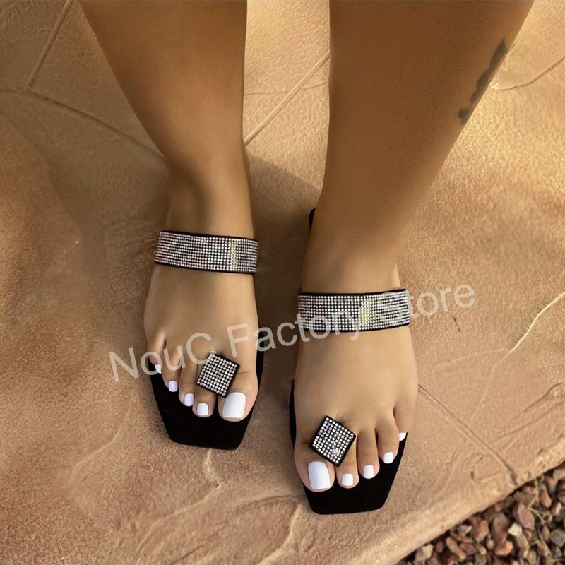 One promise Women Spring Rome Rhinestone Beach Shoes Slip On Flats Casual Outside Slippers