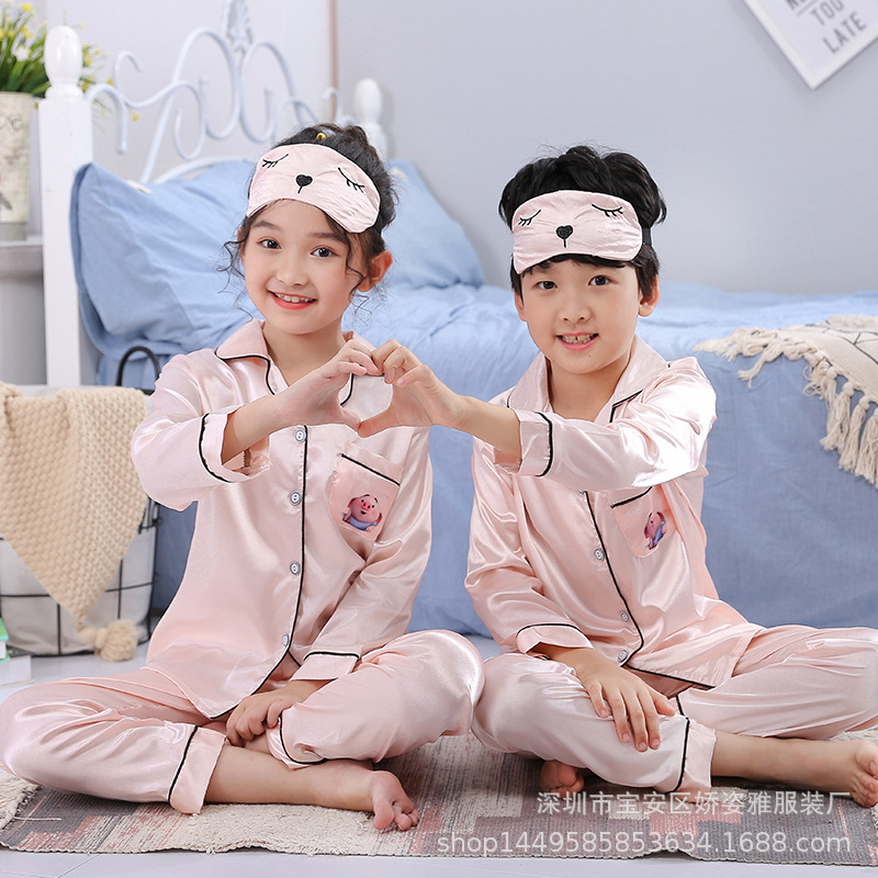 Spring And Autumn CHILDREN'S Pajamas Children Viscose Home Wear BOY'S GIRL'S Baby Kids Summer Long-sleeve Suit Send Eye Patch