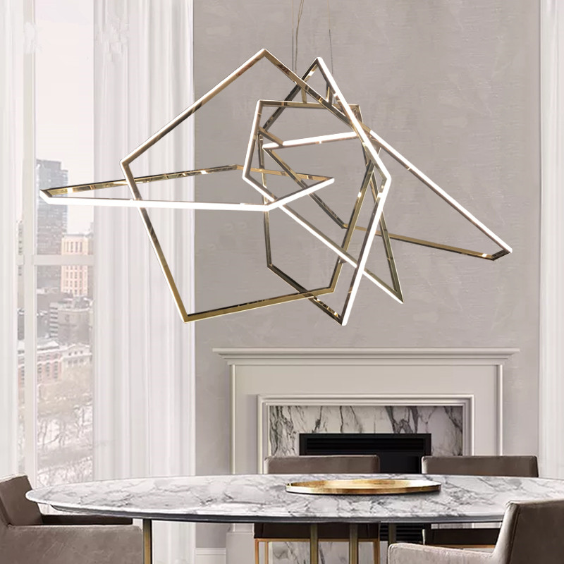 Glossy Gold LED Pendant Light for Dining Room Living Room Acrylic Triangle Hang Lamp Chandelier Ceiling Pendant lamp Fixture|Pendant Lights| |  - title=