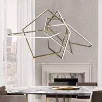 Glossy Gold LED Pendant Light for Dining Room Living Room Acrylic Triangle Hang Lamp Chandelier Ceiling Pendant lamp Fixture