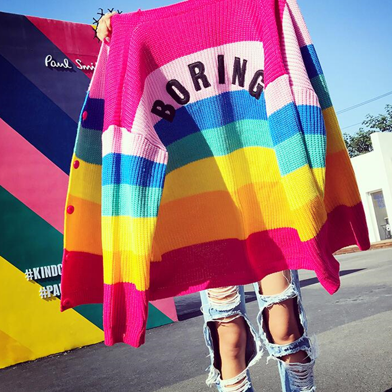 Lazy BORING Rainbow Cardigan Striped Loose-Fit Long Sleeve Knit Top Women's Sweaters Cardigans Harajuku Outift /