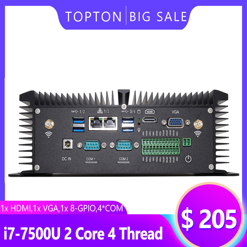 Topton Windows 10 Industrial PC, Fanless Mini Computer With Intel Core I5 8250U I7 7500U CPU,HDMI,VGA, 2xCOM, GPIO, Metal Body