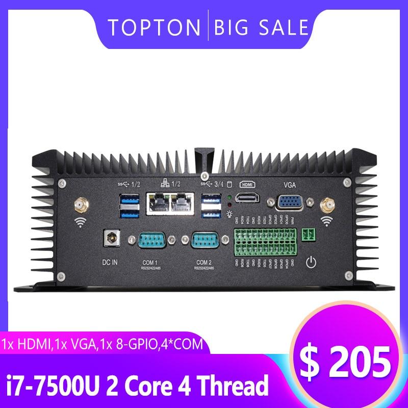 Topton Windows 10 Industrial PC, Fanless Mini Computer With Intel Core I5 8250U I7 7500U CPU,HDMI,VGA, 2xCOM, GPIO, Metal Body
