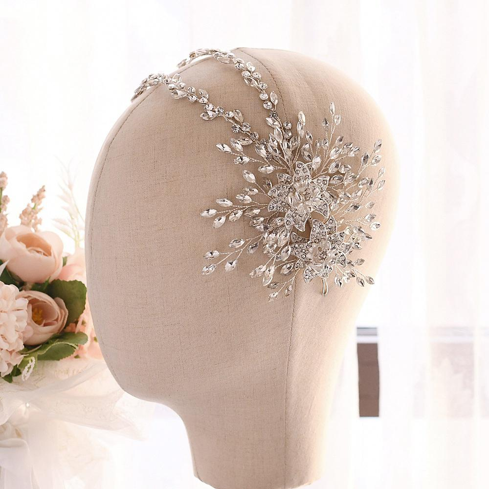 TRiXY H284 Luxury Bridal Headband Jewelry Headband Designer Wedding Hair Accessories Princess Crown  Silver Flower Headpiece