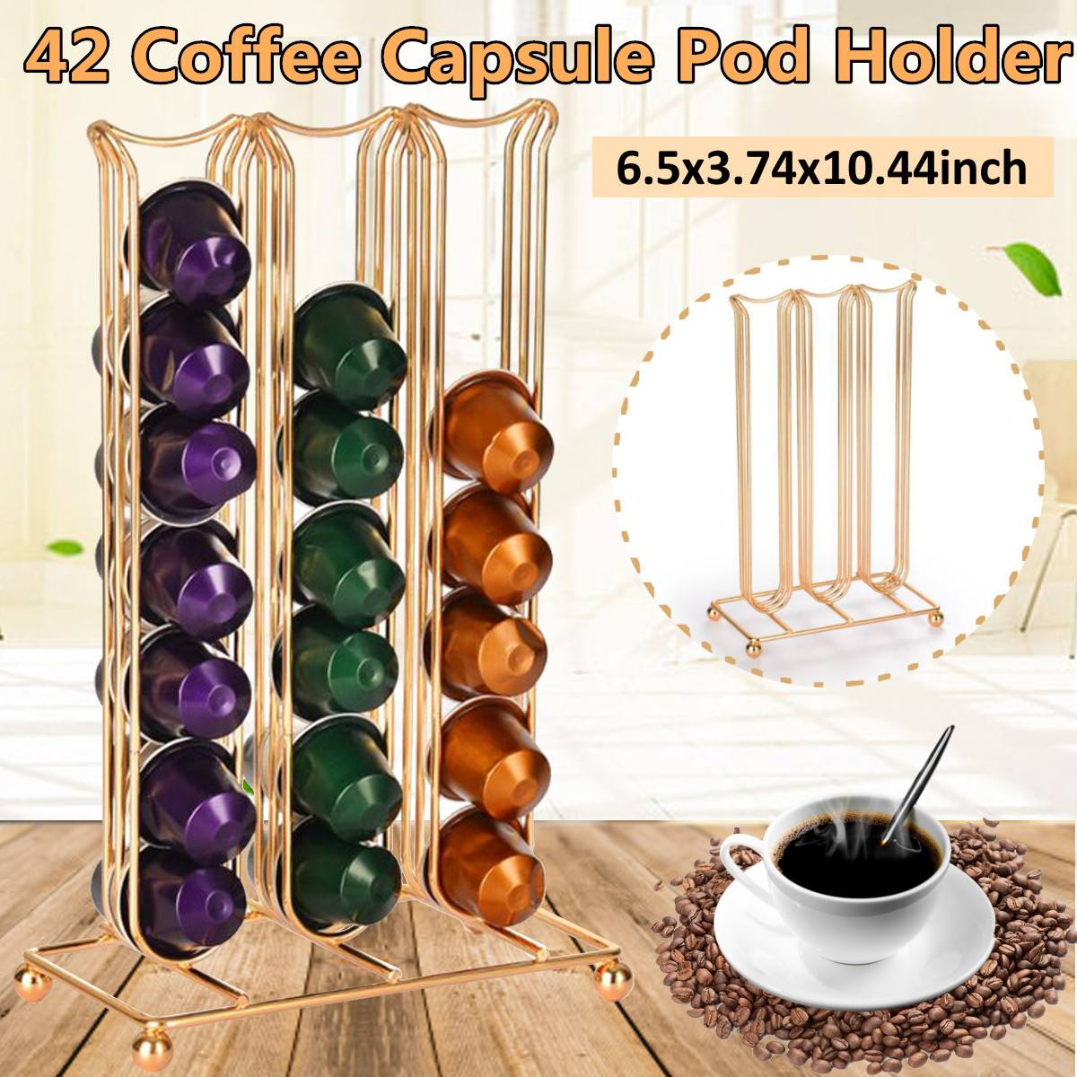 42 Cups Coffee Pods Capsules Holder Coffee Station Stand Display Rack Coffee Capsule Storage Rack For Nespresso Capsule Supplies