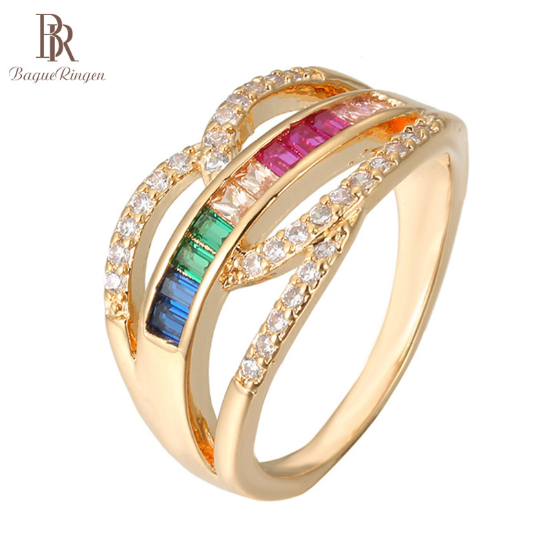 Bague Ringen Geometry Silver 925 Jewelry Colorful Gemstones Rings for Women Luxury Crystal Gold Color Ring Anniversary Gift