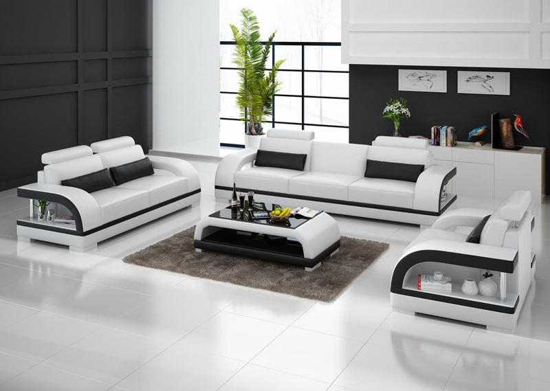 3 piece living room sofa genuine leather sofa set ...