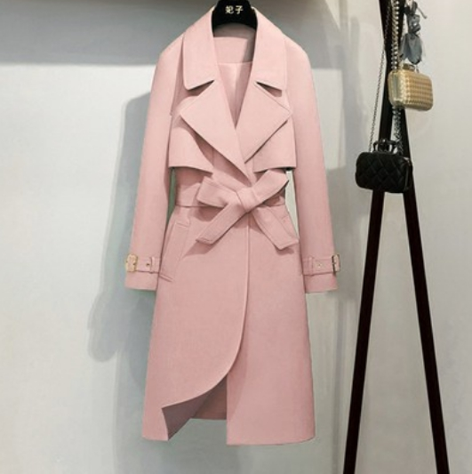 Pure Colour Winter Trench Coat For Women Office Lady Overcoat Windbreaker Korean Fashion Belt Woman Clothes Coats