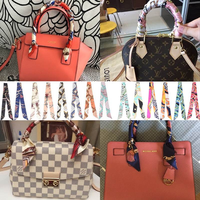 Slim Entangled Bag Handle Mini Twill Floral Scarf Handbag Accessories Tie Bag Belt Silk Scarf Ribbon Decorative Bag Scarf