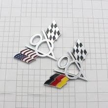 3D Metal Estados Unidos bandera alemana V8 insignia pegatina emblema para el coche carreras Motorsports para Volvo s60 xc90 s80 turbo rápido