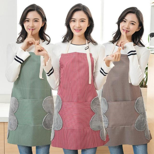 Apron For Women Waterproof Apron Cotton Linen Wasy To Clean Home Tools Kitchen Baking Accessories Cooking Delantal Cocina Home 6