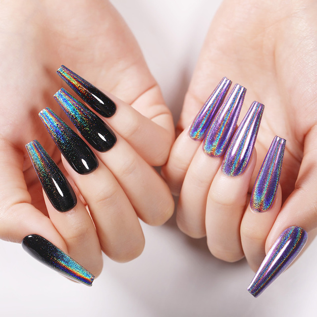 1 Box Holographic Nail Glitter Dipping Metallic Powder Champagne Mirror Effect Nail Decoration Dust Pigment for Nails
