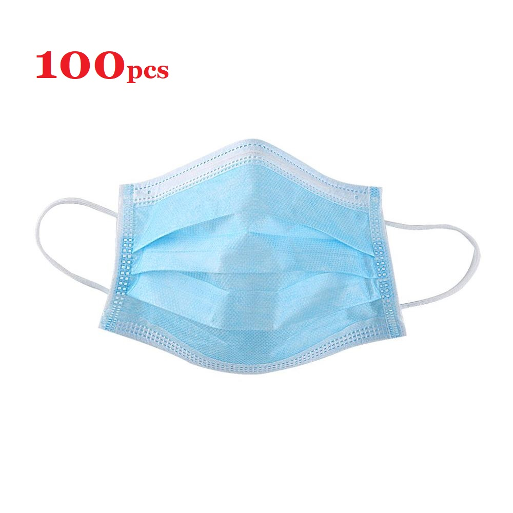 100Pcs Antiflu Mask Disposable Mask Nonwove 3 Layer Ply Filter Mouth Face Mask Dust BFE95 Meltblown Mouth Masks
