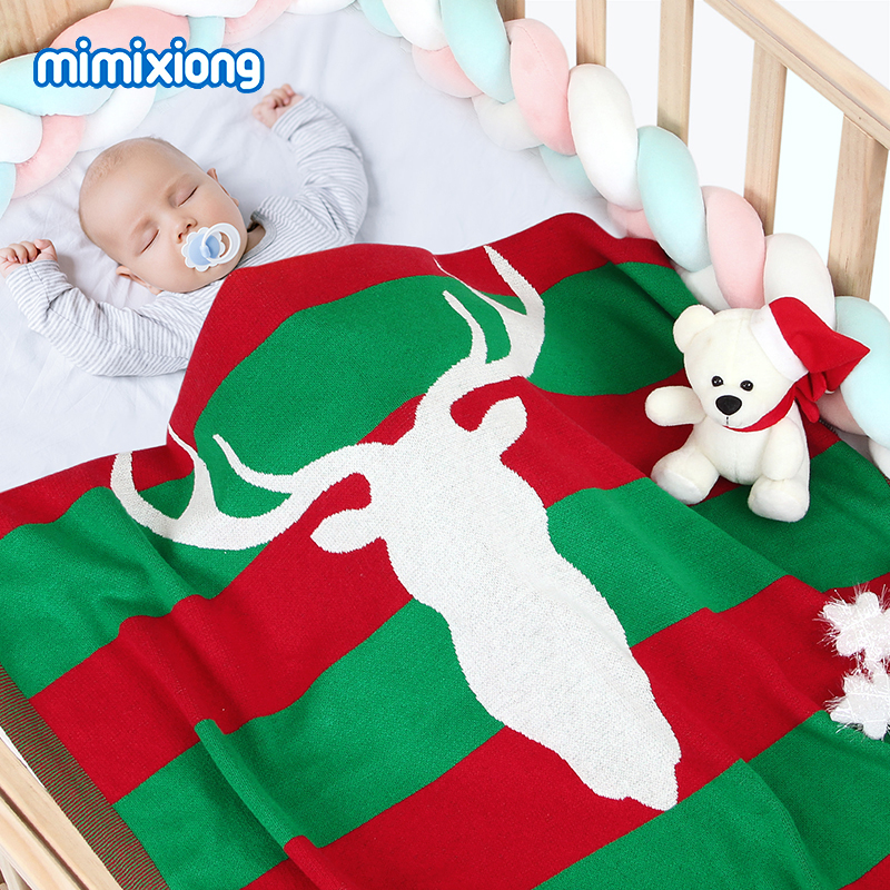 Baby Blankets Newborn Swaddle Wrap Cotton Knitted Toddler Christmas Stroller Bedding Quilts 100*80cm Infant Kids Muslin Blankets