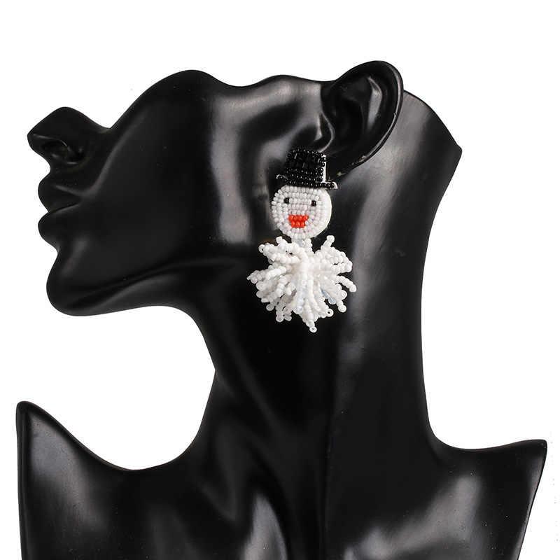 Cacko bar koraliki Snowman spadek kolczyki dla kobiet urok święty mikołaj dynda wiszące kolczyki wysokiej jakości biżuteria bożonarodzeniowa