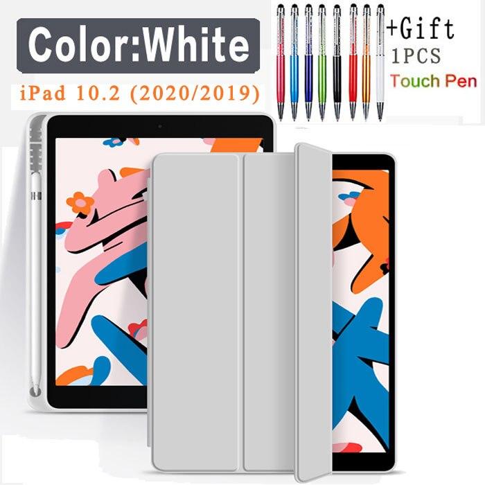 Pencil Case-White Purple Funda Case For Apple iPad 10 2 2020 2019 flip Case with Pencil Holder For iPad