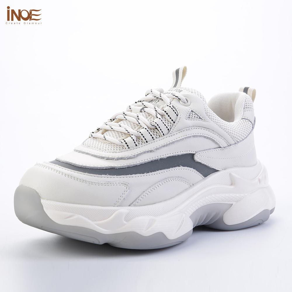 INOE 2020 Genuine Leather Women Fashion Spring Sneakers For Walking Casual Shoes Woman White Flats Autumn Samples Clearance Sale