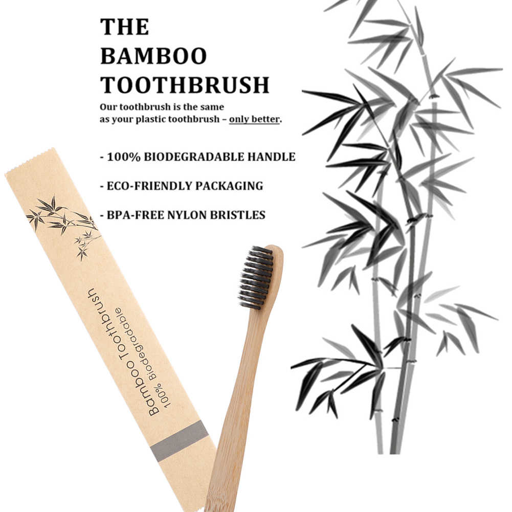 Bamboo Toothbrush Soft Bristles Biodegradable Vegan eco-friendly Bamboo charcoal Toothbrushes Oral Care Tooth logo customize