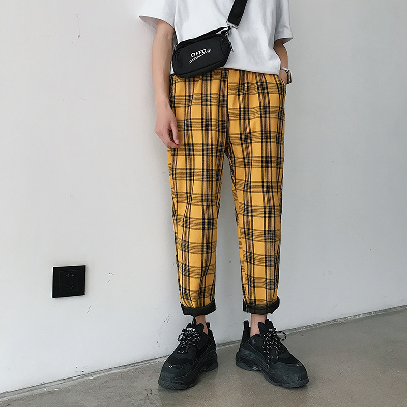 Men Women Korean Style Black Plaid Casual Pants 2020 Mens Streetwear Harem Pants Male Checkered Trousers Plus Size 4XL