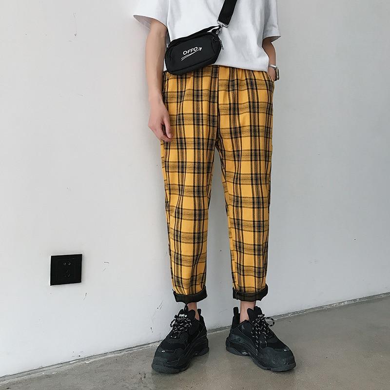 Men Women Korean Style Black Plaid Casual Pants 2020 Mens Streetwear Harem Pants Male Checkered Trousers Plus Size 4XL