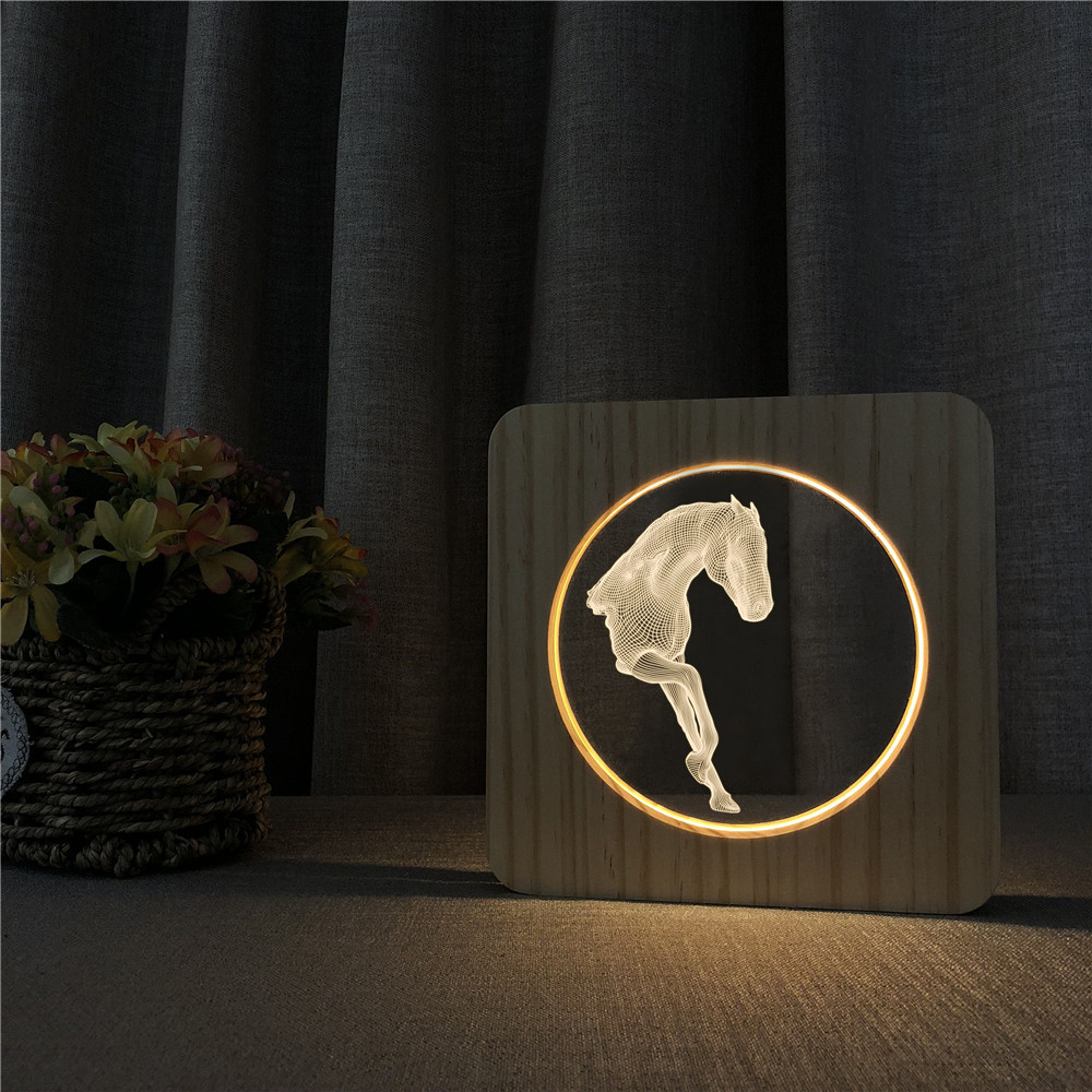 Art Horse Style 3D LED Arylic Wooden Night Lamp Table Light Switch Control Carving Lamp For Children's Room Decoration Gift