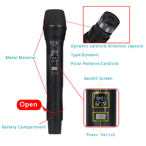 Image 3 - EYK EFU4 4 Channels UHF Wireless Microphone System with Metal Material Handheld Mic for Stage Church Family Party Karaoke