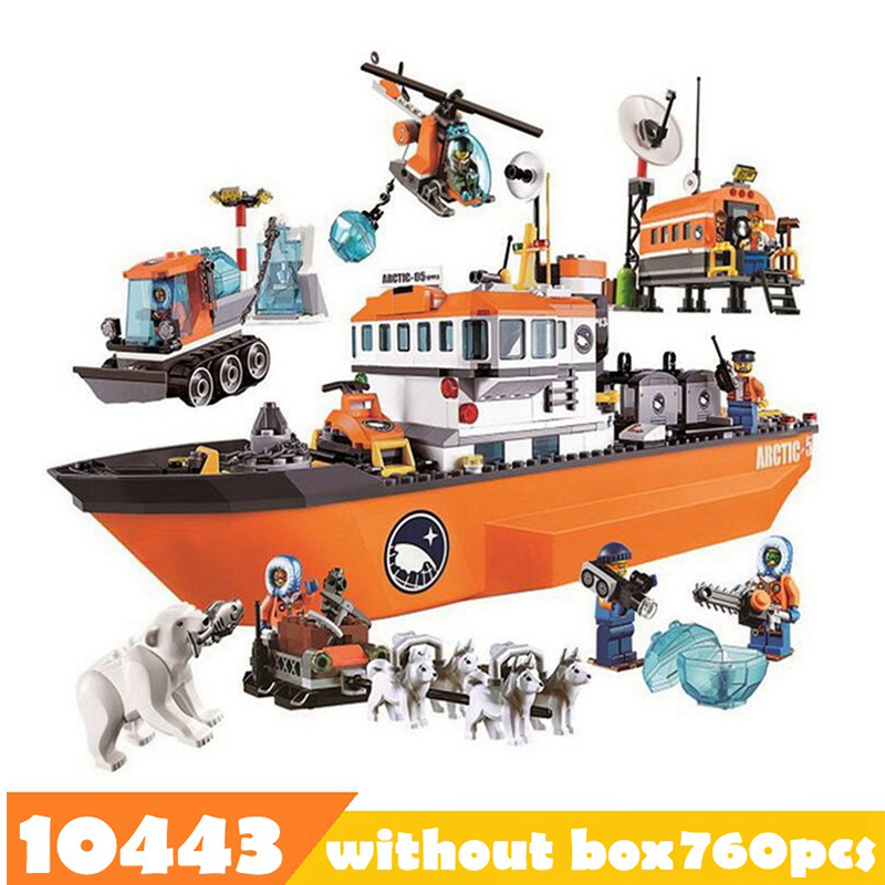 760pcs 10443 Legoinglys City Arctic Outpost Policemen Building Blocks Model Toys Jail Cell Bricks City Toys For Boy