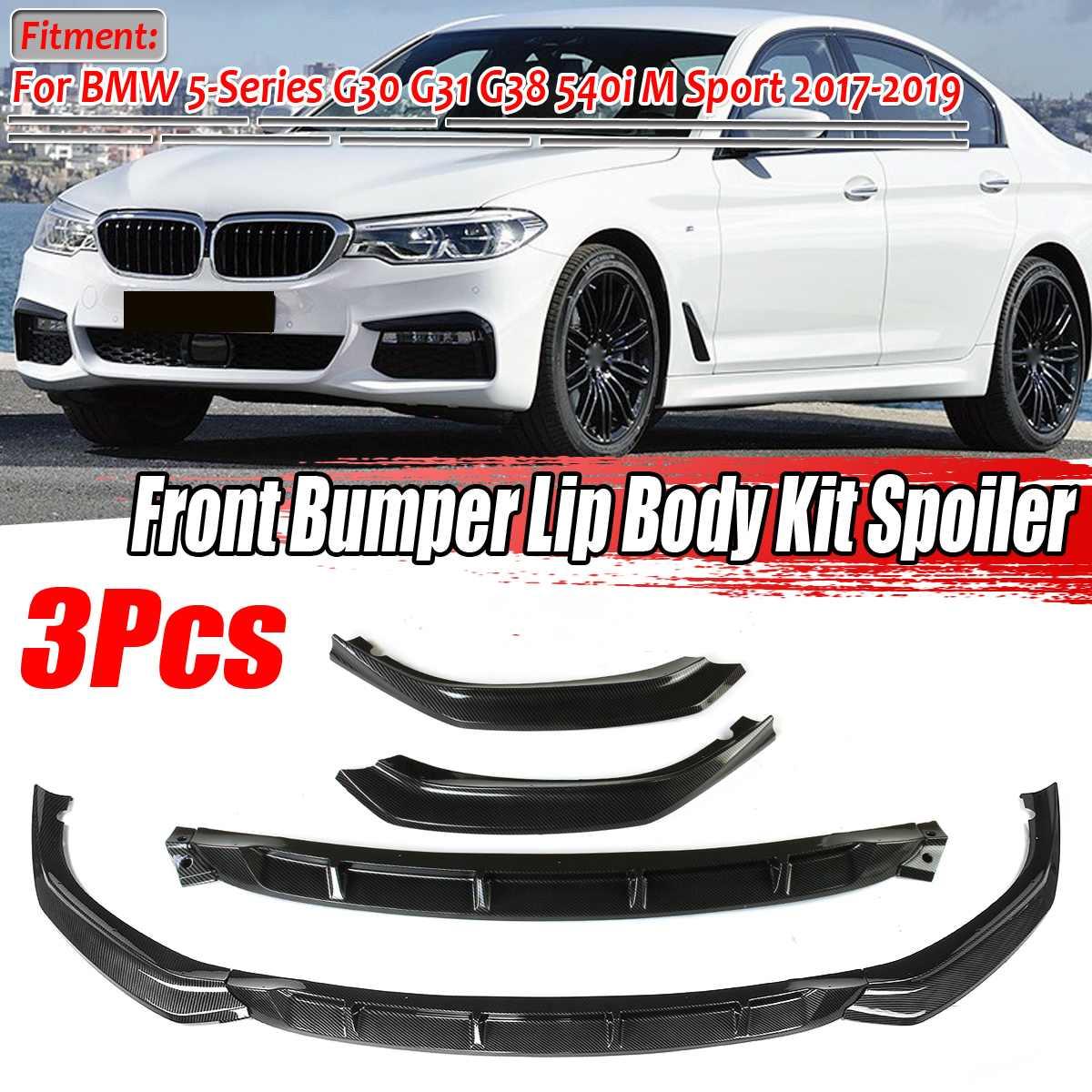 3 шт., автомобильный передний бампер, разделитель для губ, рассеиватель, комплект, спойлер, Защита бампера для BMW 5-Series G30 G31 G38 540i M Sport