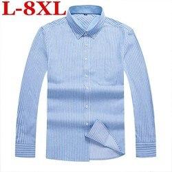 8XL 7XL Gestreiften Casual Männer Langarm-shirt Nähen Mode Tasche Design Stoff Weichen Bequemen Männer Kleid Slim Fit Stil