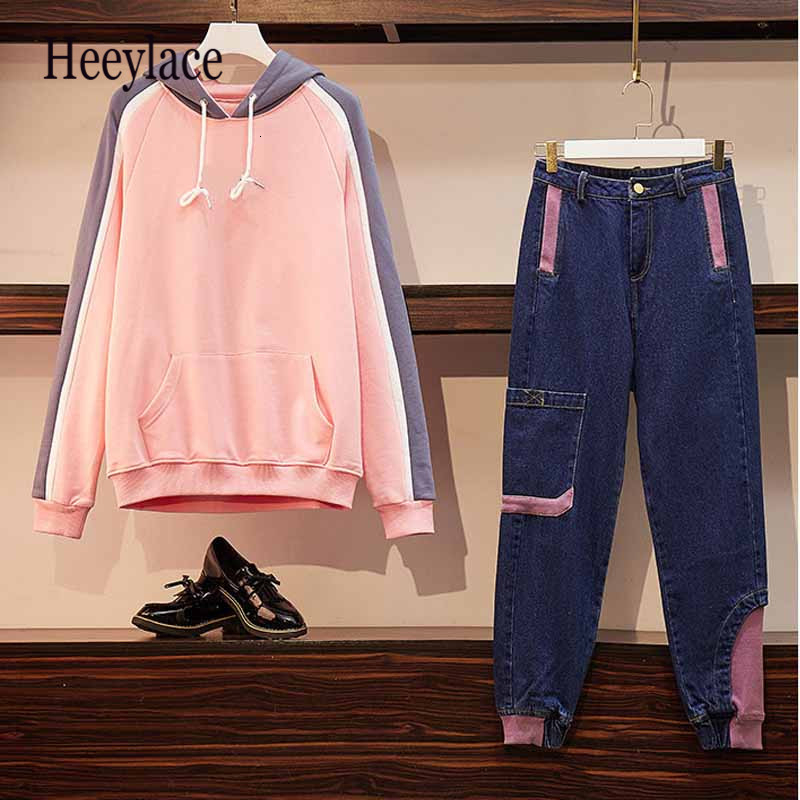 Women's Sports Suit Large Plus Size M-4XL Hooded Sweater T Tracksuit Sweatshirt+Jean Two Piece Set Denim Pant Sportwear Matching