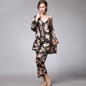Image 2 - QWEEK seksi uyku salonu 3 adet v yaka kadın pijama seti zarif baskı uzun kollu pijama kadın pijama kadın kıyafeti