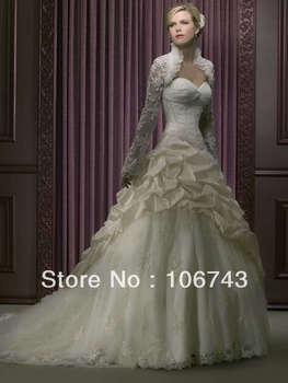 free shipping 2016 new style hot sale Sexy wedding sweet princess Custom-made size good quality lace jacket pleat bridal dress