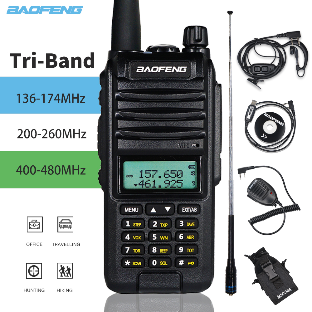 New Tri-Band Radio BaoFeng A58s 8W High Power Walkie Talkie 3800mAh Amateur Handheld Ham Two Way Radio Upgrade UV-82 Transceiver