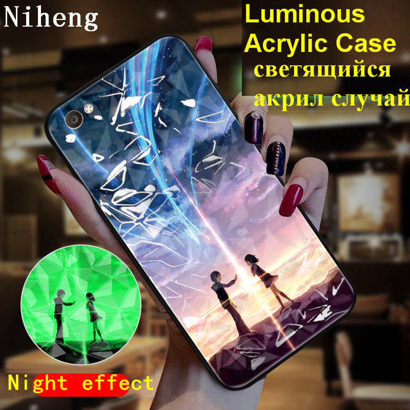 Luminous Acrylic <font><b>Back</b></font> <font><b>cover</b></font> Case for <font><b>OPPO</b></font> A3 A5 A7 A5S A7X A8 A9 2020 A11X <font><b>A57</b></font> A59 A83 A91 Find X2 Pro F1S K1 K3 K5 Meteor Lover image