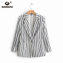 ROHOPO Gray Vertical Striped Slim Balzer Women Autumn Notched Collar Slim Office Ladies Chic Outwear #9068