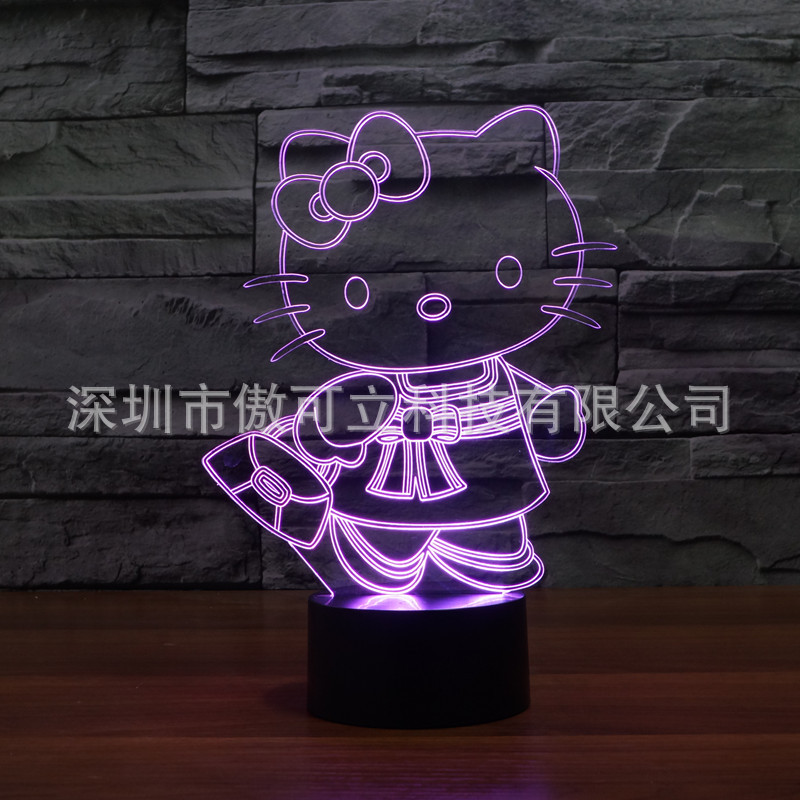 Wenhsin Hello Kitty 3D Night Light Colorful Touch Charging LED Visual Light Ambient Table Lamp