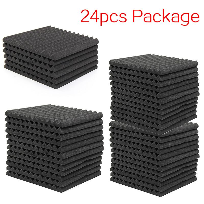 24PCS 300x300x25mm Studio Acoustic Foam Sound Foam Sound Proofing Protective Sponge Soundproof Absorption Treatment Panel