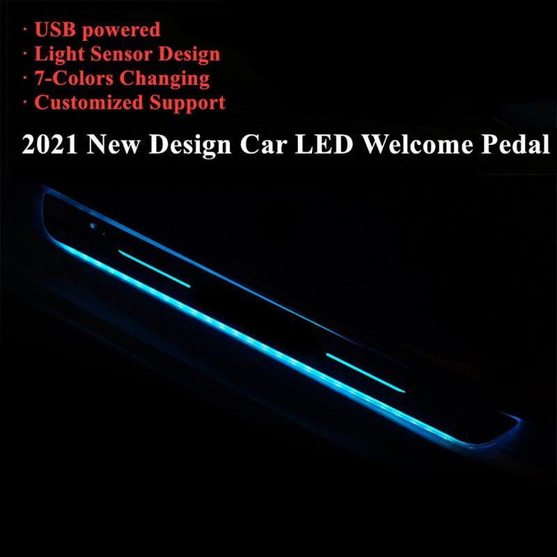 2021 Модернизированный автомобиль Акриловые USB Мощность движущийся светодиодный Добро пожаловать педаль автомобиль накладка педаль порога ...