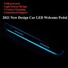 2021 atualizado carro acrílico usb power moving led pedal bem vindo do carro placa de chinelo pedal luz caminho do peitoril da porta para benz para hyundai