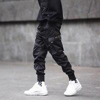 Hip Hop Black Pencil Jogger Pants Men Elastic Waist Tactics Cargo Pants Male Ribbon Pocket DG11