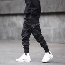 Hip Hop Black Pencil Jogger Pants Men Elastic Waist Tactics Cargo Male Ribbon Pocket DG11