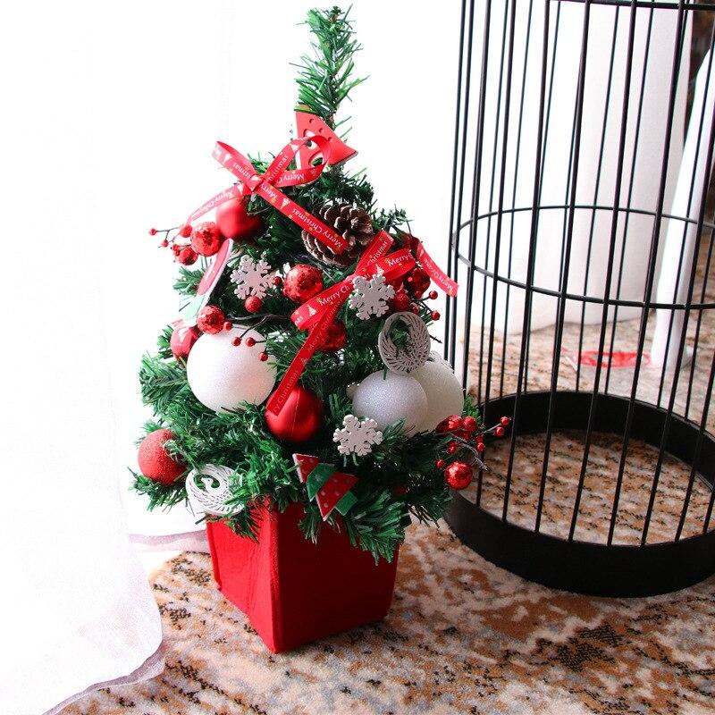 Mini 45CM Christmas Tree Package Red Decoration Set Desktop Decoration European Christmas Gift Set decorativo arbol navidad in Trees from Home Garden