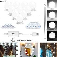 5 в освещенные макияж зеркальные лампы Плавная регулировкая яркости туалетный столик лампочки голливудские Светодиодные подсветка косметического зеркала настенный светильник